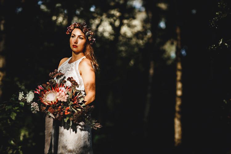 Crochet Lace Bohemian Dress Bride Bridal Dress Gown Flowers Crown Bouquet Red Cosy Autumn Woodland Tipi Wedding Ideas http://hbaphotography.com/