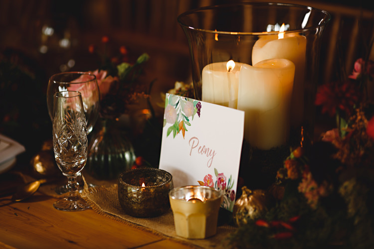 Tables Flowers Candles Stationery Rustic Cosy Autumn Woodland Tipi Wedding Ideas http://hbaphotography.com/