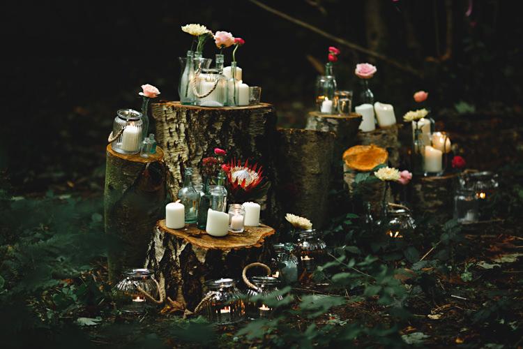 Log Tree Stumps Flowers Candles Cosy Autumn Woodland Tipi Wedding Ideas http://hbaphotography.com/