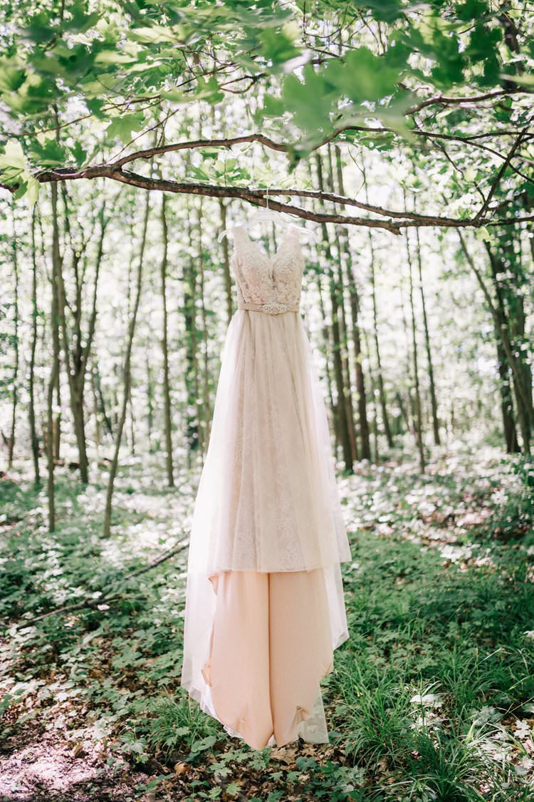 Forest Dress Blush Lace Outdoorsy Modern Wedding in Wisconsin http://www.mcnielphotography.com/