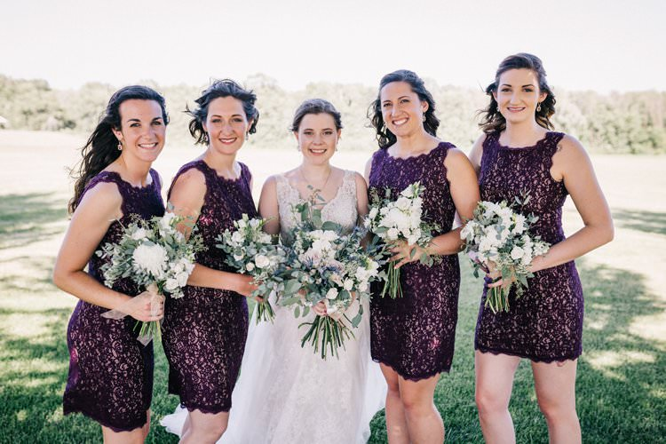 Bride Updo Lace Dress Floaty Bouquet Blush Roses Purple Thistle Bridesmaids Sparkle Sleeveless Outdoorsy Modern Wedding in Wisconsin http://www.mcnielphotography.com/