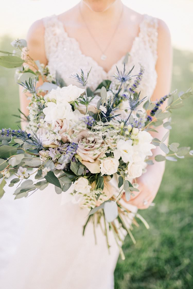Bouquet Roses Purple Pink Blush Thistle Greenery Bride Dress Lace Outdoorsy Modern Wedding in Wisconsin http://www.mcnielphotography.com/