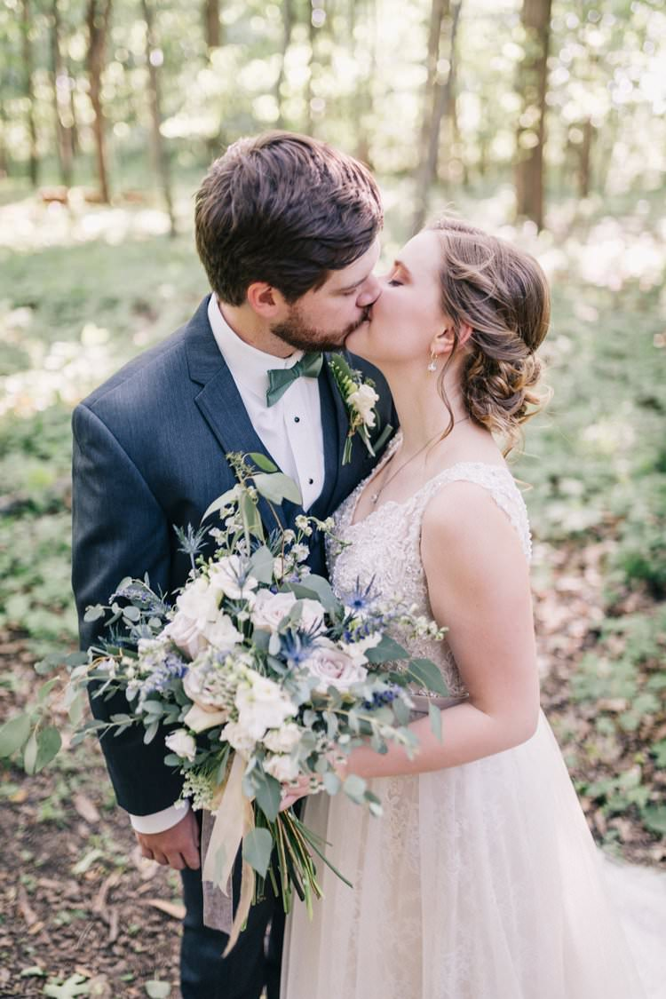 Bride Groom Bow Tie Floaty Dress Gown Blush Lace Scoop Back Buttons Updo Bouquet Greenery Purples Blush Pink Roses Thistle Outdoorsy Modern Wedding in Wisconsin http://www.mcnielphotography.com/
