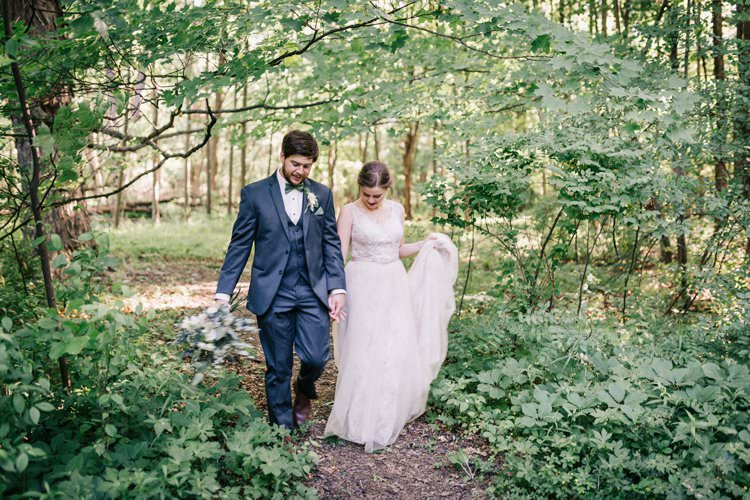 Bride Groom Bow Tie Floaty Dress Gown Blush Lace Scoop Back Buttons Updo Bouquet Greenery Purples Blush Pink Roses Thistle Forest Outdoorsy Modern Wedding in Wisconsin http://www.mcnielphotography.com/