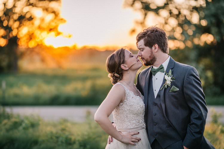 Bride Groom Bow Tie Floaty Dress Gown Blush Lace Scoop Back Buttons Sunset Updo Outdoorsy Modern Wedding in Wisconsin http://www.mcnielphotography.com/