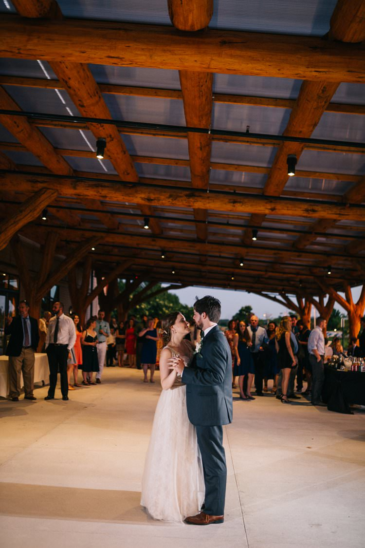 First Dance Bride Groom Bow Tie Floaty Dress Gown Blush Outdoorsy Modern Wedding in Wisconsin http://www.mcnielphotography.com/