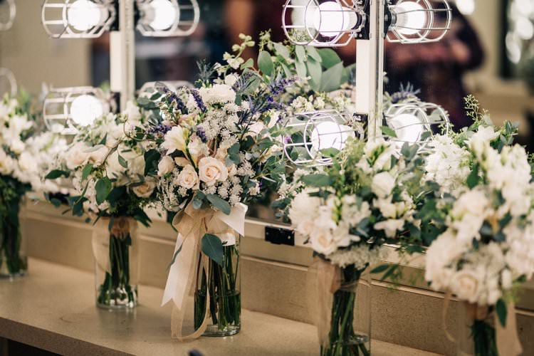 Bouquets Roses Cream Blush Pink Lavender Thistle Outdoorsy Modern Wedding in Wisconsin http://www.mcnielphotography.com/