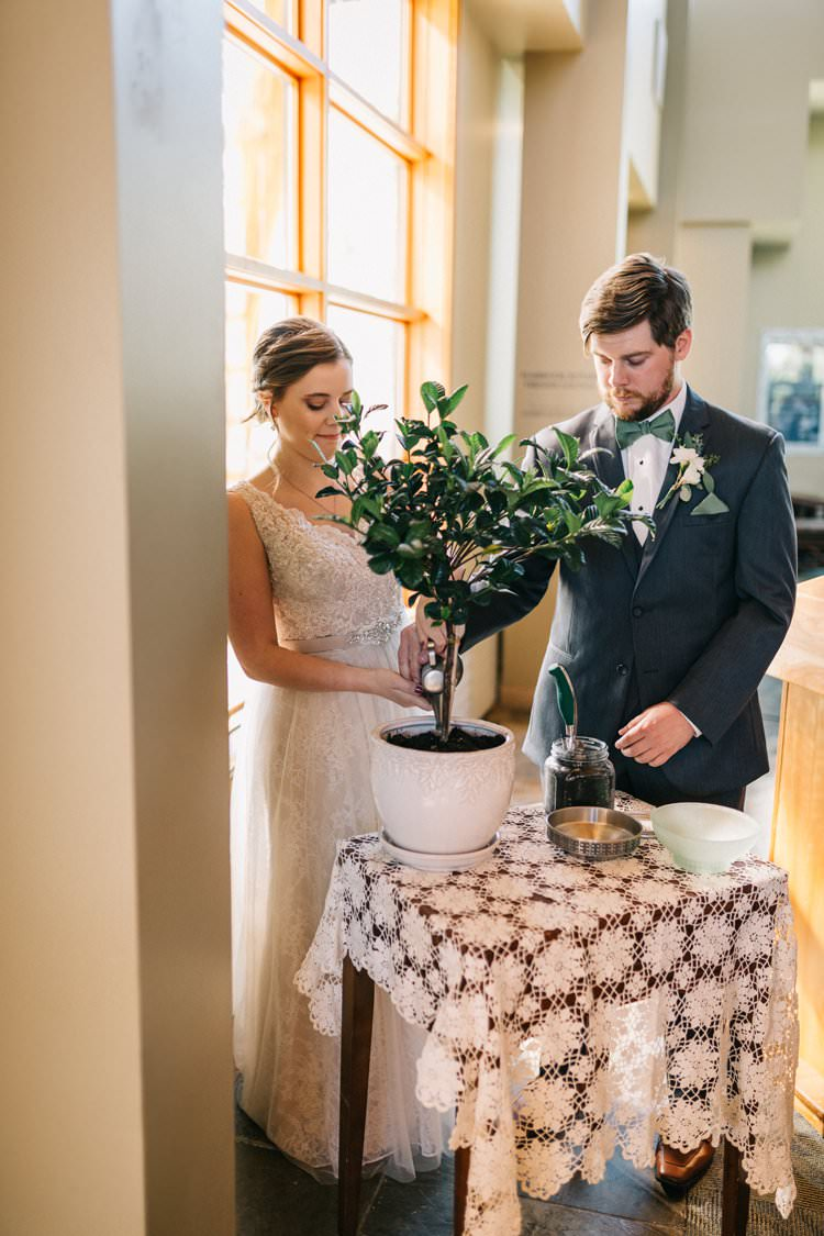 Bride Groom Bow Tie Floaty Dress Gown Blush Lace Scoop Back Buttons Updo Bouquet Greenery Purples Blush Pink Roses Thistle Ceremony Tree Planting Outdoorsy Modern Wedding in Wisconsin http://www.mcnielphotography.com/