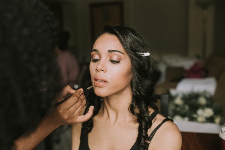 Make Up Bride Bridal Beauty Elegant White Marquee Lavender Fields Wedding http://natalyjphotography.com/