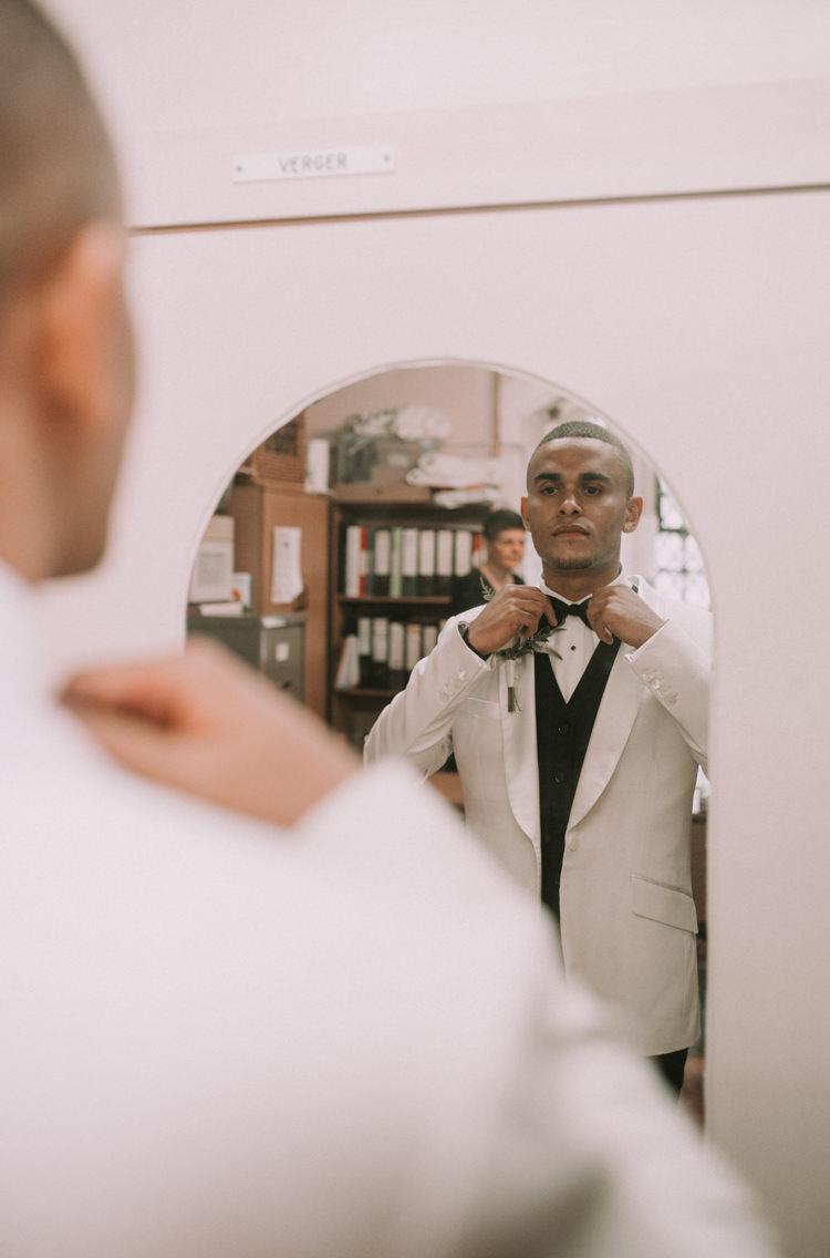 Groom Jacket Tuxedo Bow Tie Elegant White Marquee Lavender Fields Wedding http://natalyjphotography.com/