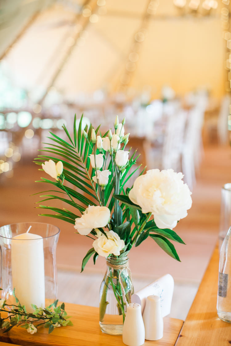 White Jars Bottles Flowers Rose Hydrangea Peonies Fresh Modern Countryside Outdoor Wedding https://www.nikkismoments.com/