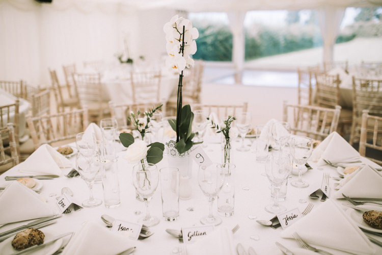 Orchid Table Centrepiece Flowers Elegant White Marquee Lavender Fields Wedding http://natalyjphotography.com/