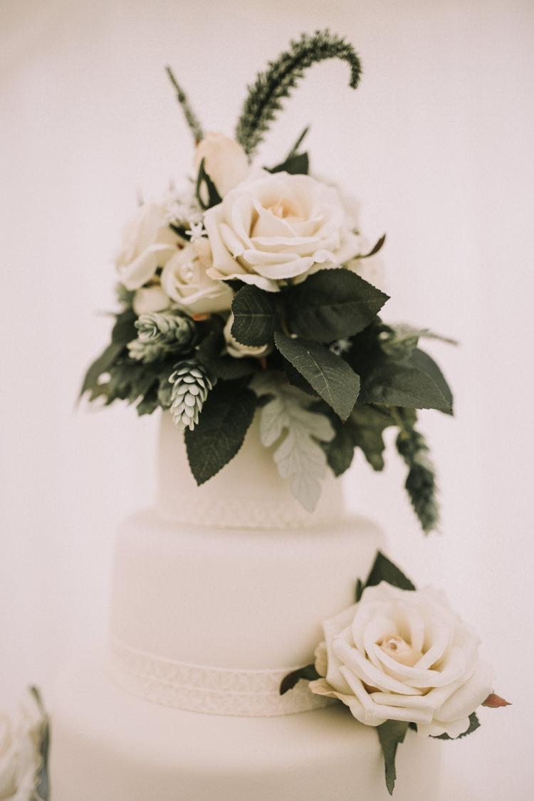 Rose Flowers Greenery Cake Topper Elegant White Marquee Lavender Fields Wedding http://natalyjphotography.com/