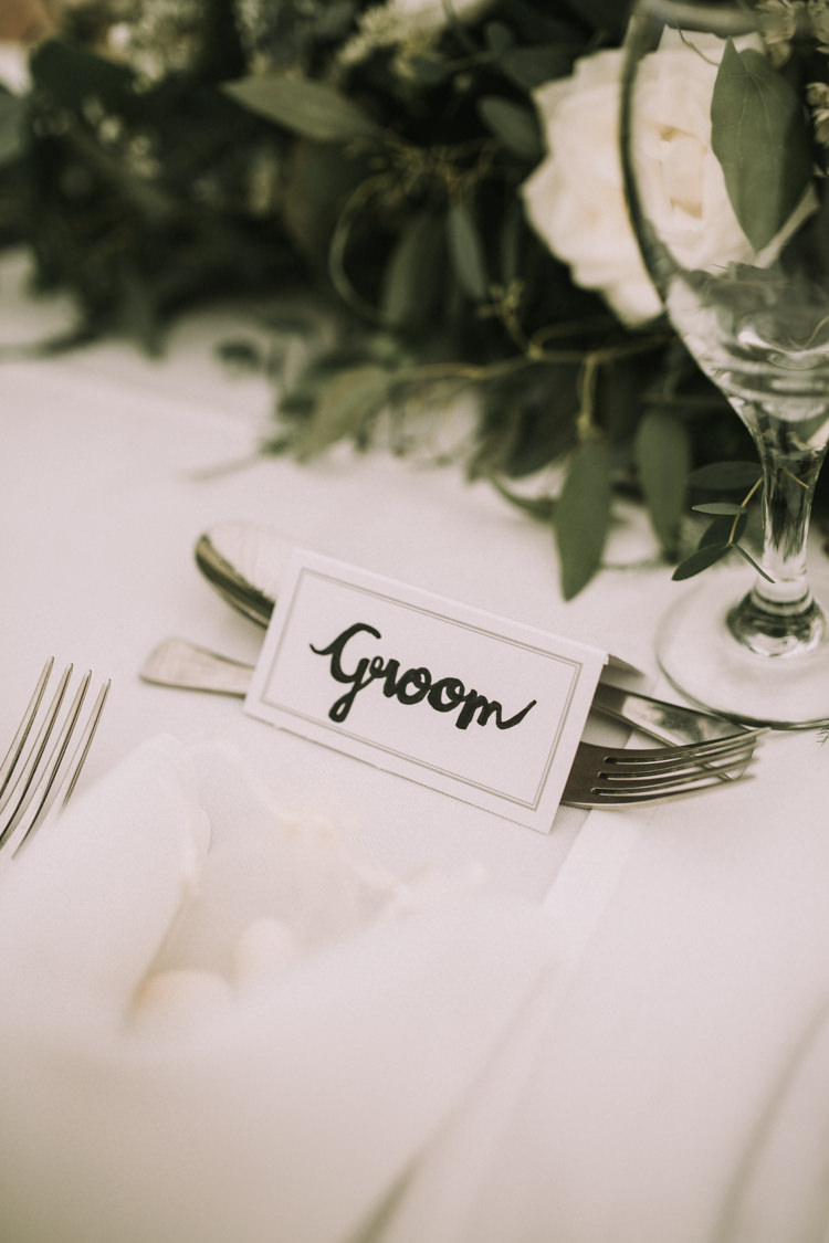 Calligraphy Place Name Cards Elegant White Marquee Lavender Fields Wedding http://natalyjphotography.com/