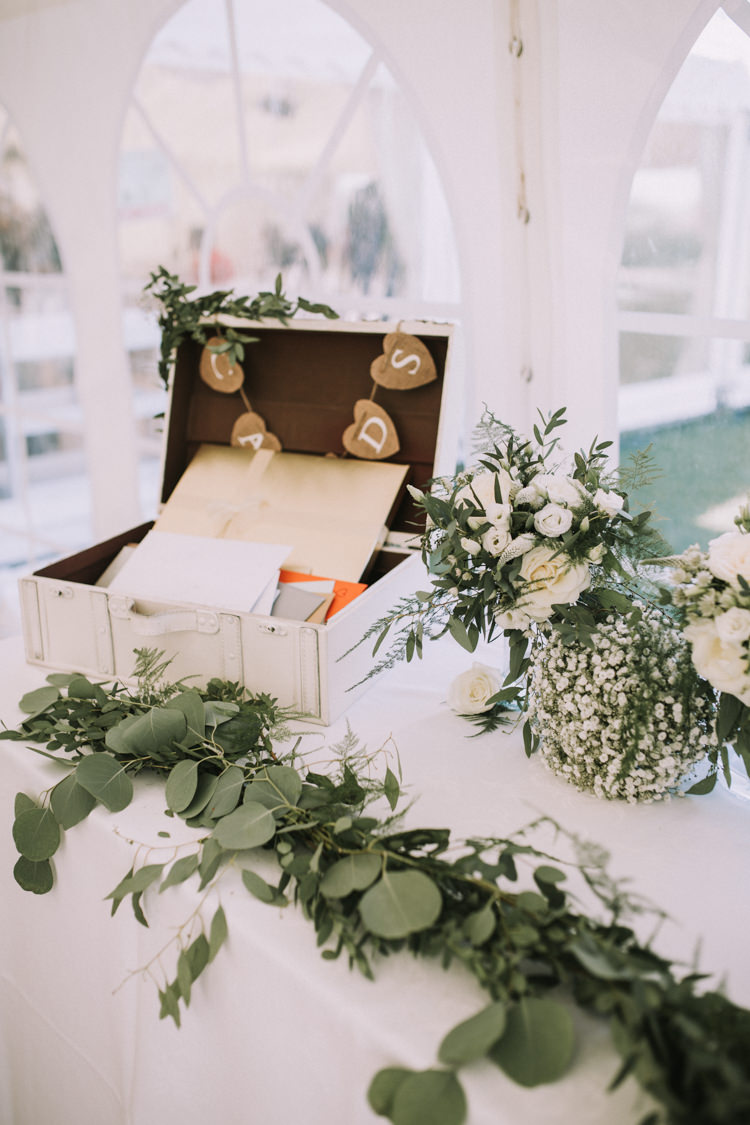 Card Suitcase Garland Greenery Swag Elegant White Marquee Lavender Fields Wedding http://natalyjphotography.com/