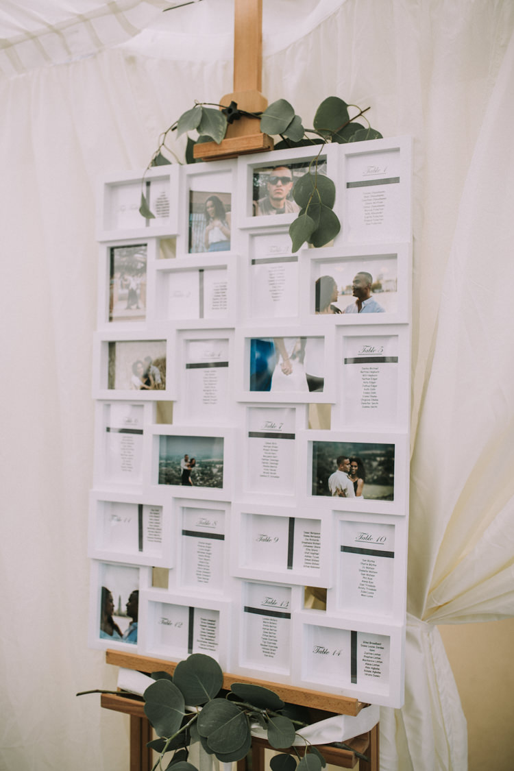 Photo Frame Seating Plan Table Chart Elegant White Marquee Lavender Fields Wedding http://natalyjphotography.com/