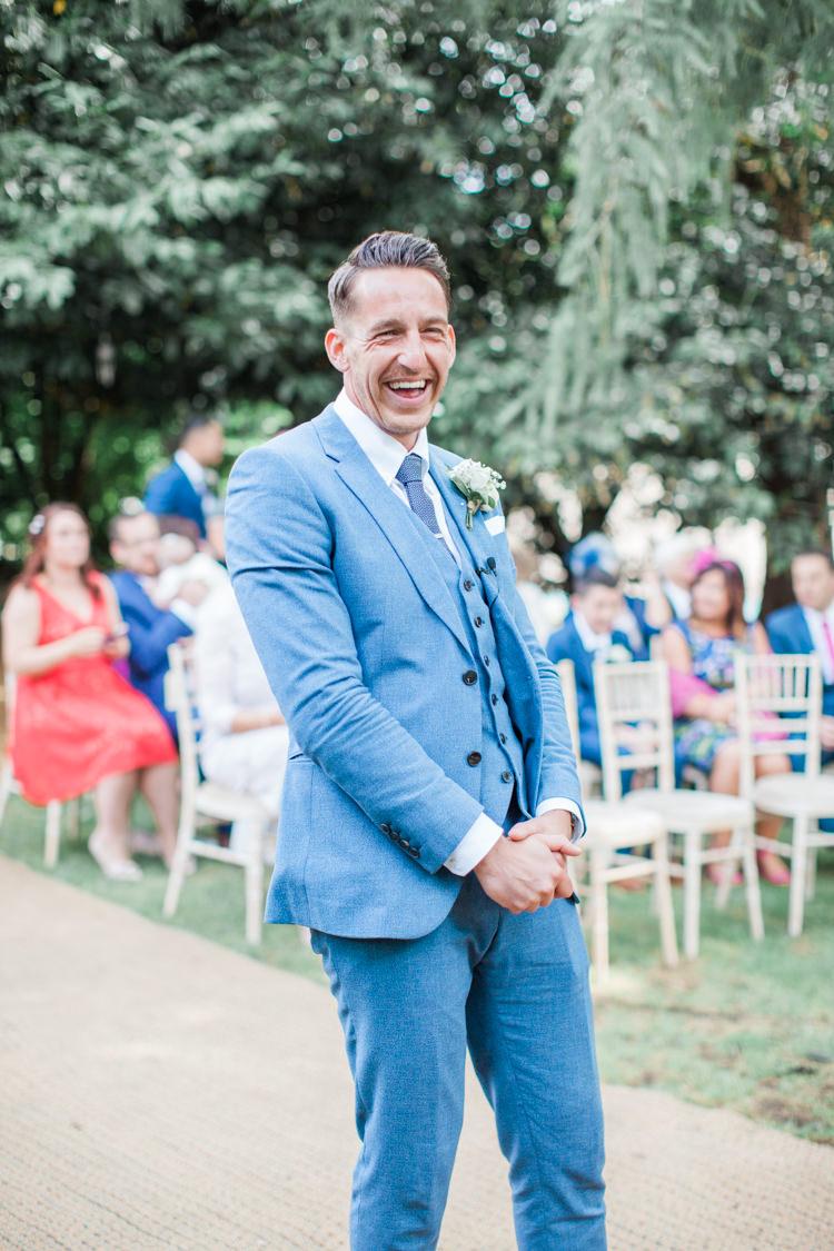 Blue Suit Groom Waistcoat Tie Fresh Modern Countryside Outdoor Wedding https://www.nikkismoments.com/