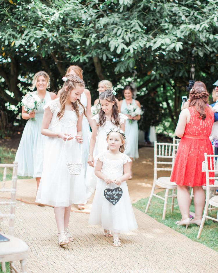 Flower Girls Tulle Crochet Dresses White Fresh Modern Countryside Outdoor Wedding https://www.nikkismoments.com/