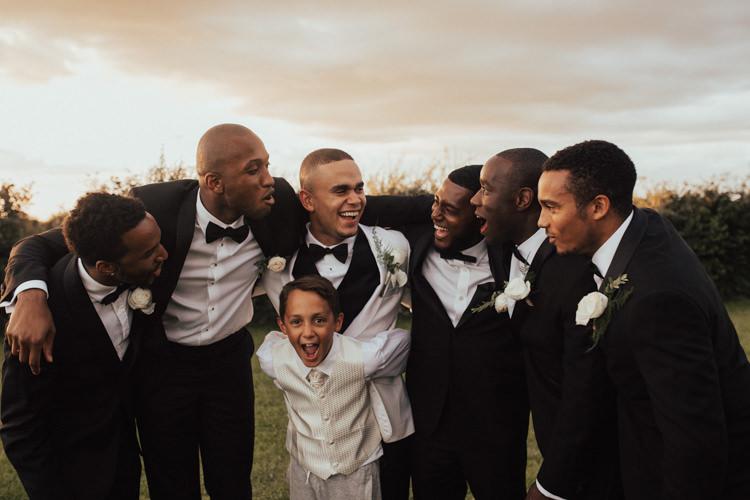 Bow Tie Tuxedo Suit Groom Groomsmen Elegant White Marquee Lavender Fields Wedding http://natalyjphotography.com/