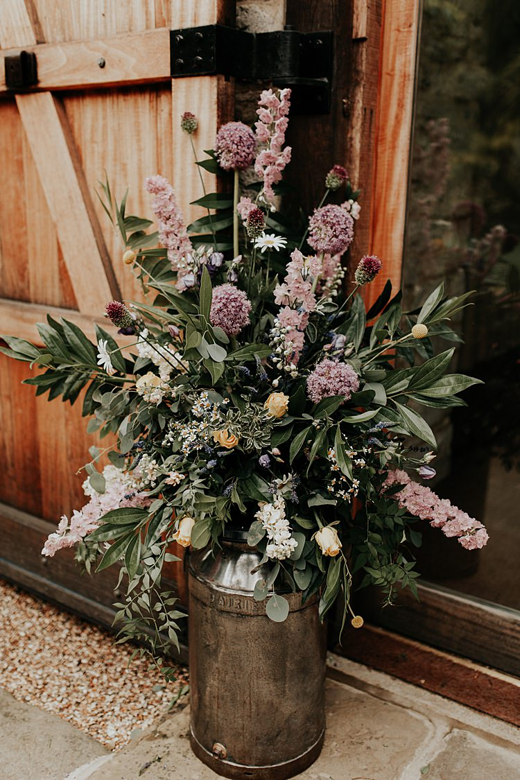 Flowers Metal Urn Milk Church Natural Beautiful Simple Relaxed Barn Wedding http://jenmarino.com/