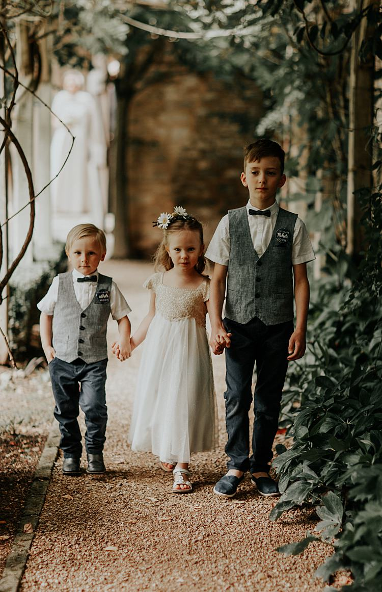 Flower Girl Page Boys Bow Tie Waistcoats Beautiful Simple Relaxed Barn Wedding http://jenmarino.com/