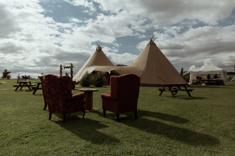 Tipis Armchairs Vintage Furniture Magical Woodland Clearing Colourful Tipis Wedding https://www.lukebellphotography.co.uk/