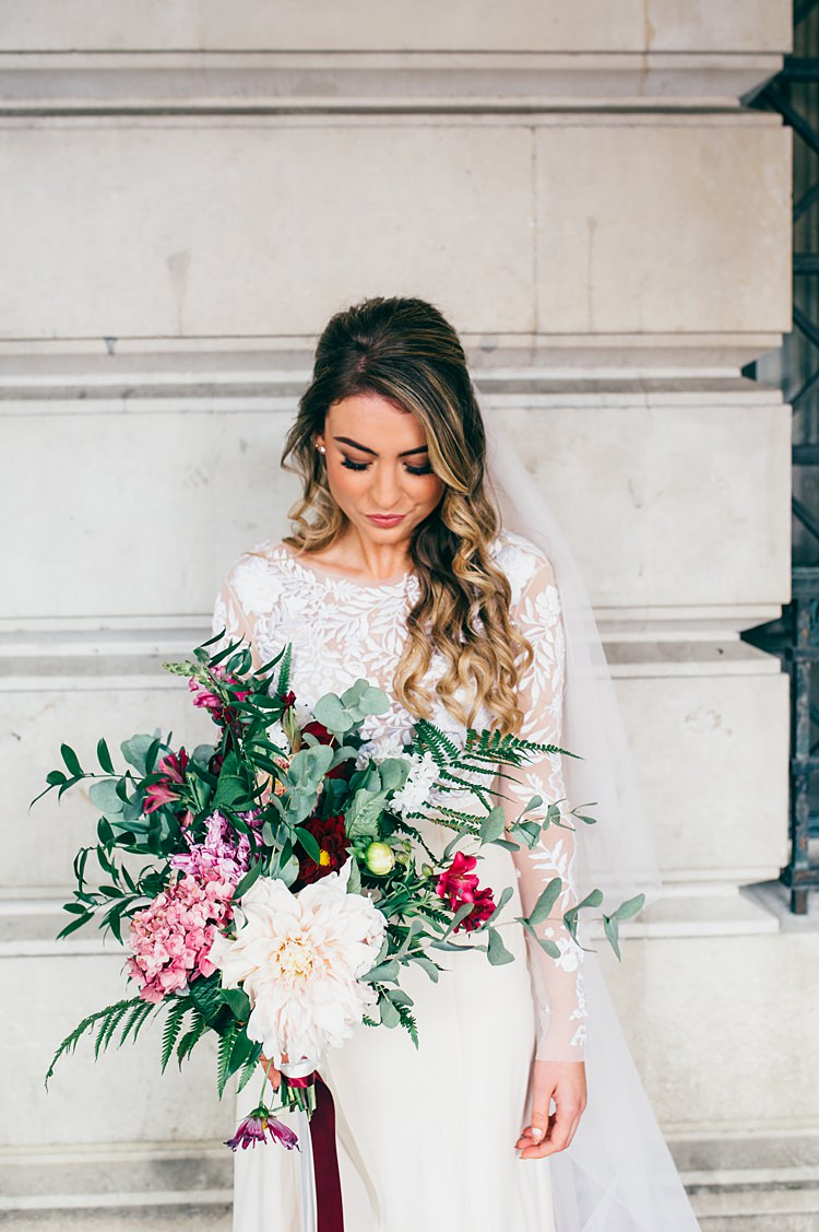 Hermione de Paula Dress Gown Bride Bridal Embroidered Sleeves Veil Bouquet Large Pink Flowers Whimsical Stylish Burgundy Rose Gold Tent Wedding https://www.jakemorley.co.uk/