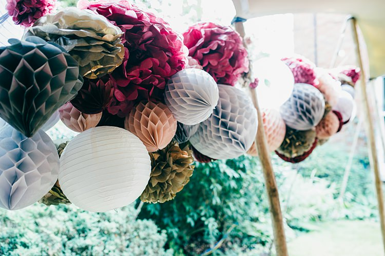 Lanterns Honeycomb Balls Pom Poms Decor Whimsical Stylish Burgundy Rose Gold Tent Wedding https://www.jakemorley.co.uk/