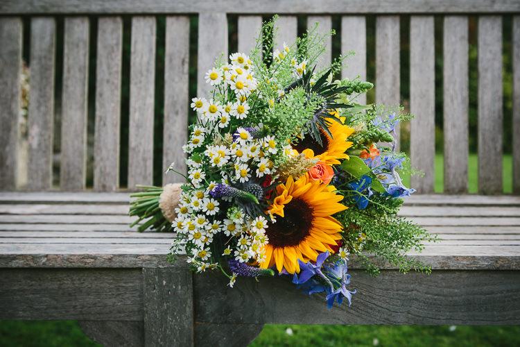 Multicolour Bouquet Bride Bridal Wildflower Sunflower Thistle Small Colourful Cool Alternative Wedding https://www.alexapoppeweddingphotography.com/