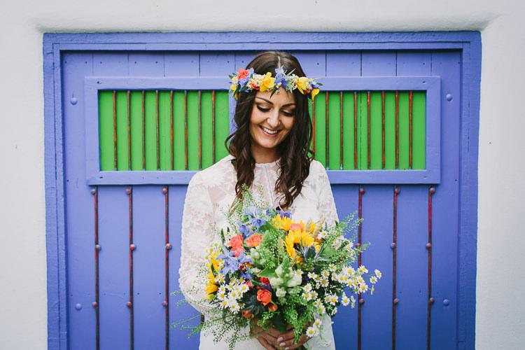 Bride Bridal Rue de Seine Dress Gown Lace Sweetheart Overlay Flower Crown Multicolour Wildflower Bouquet Sunflower Small Colourful Cool Alternative Wedding https://www.alexapoppeweddingphotography.com/