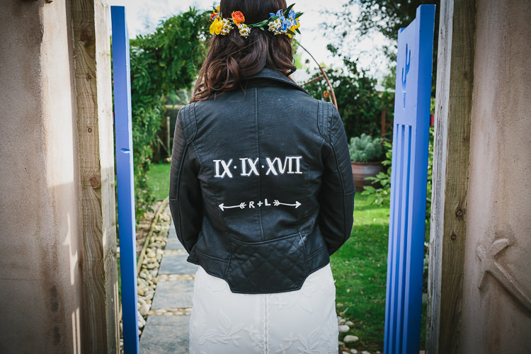 Bespoke Leather Jacket Bride Bridal Wedding Date Rue de Seine Flower Crown Small Colourful Cool Alternative Wedding https://www.alexapoppeweddingphotography.com/