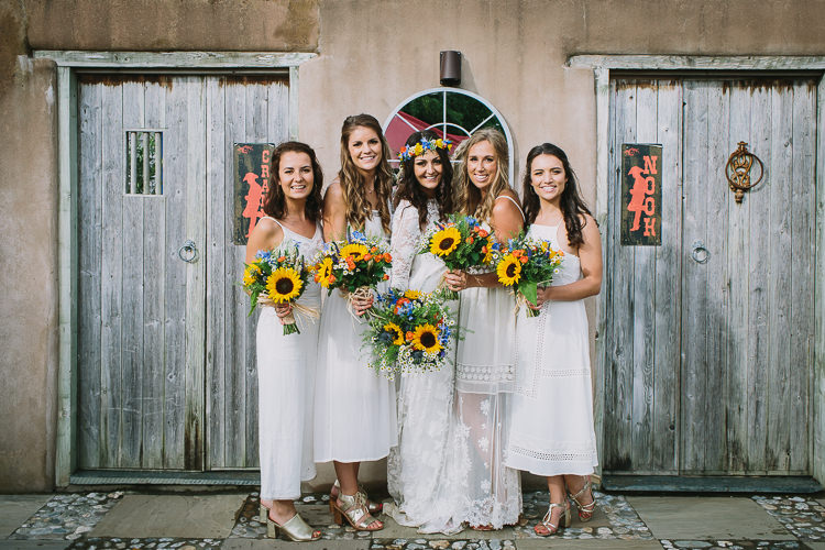Bride Bridal Rue de Seine Dress Gown Lace Sweetheart Overlay Flower Crown Multicolour Wildflower Bouquet Sunflower White Bridesmaids Mismatched Small Colourful Cool Alternative Wedding https://www.alexapoppeweddingphotography.com/