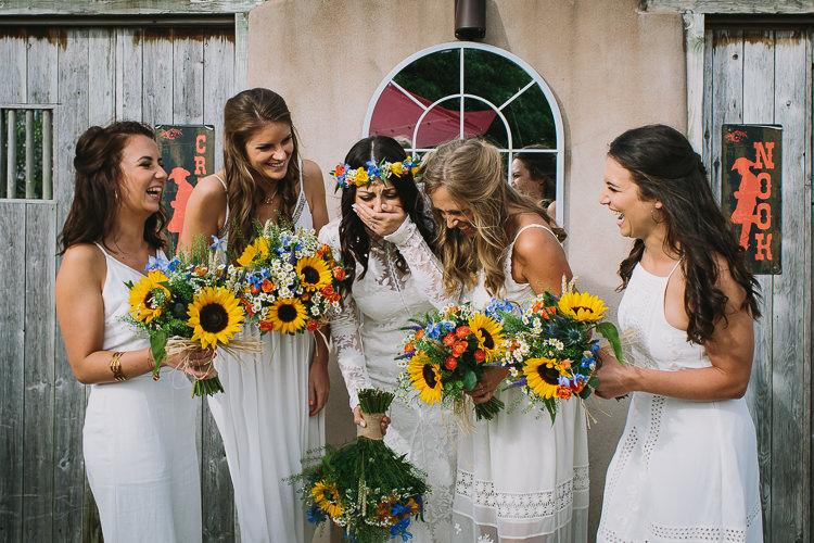 Bride Bridal Rue de Seine Dress Gown Long Sleeve White Bridesmaids Multicolour Bouquet Sunflowers Flower Crown Small Colourful Cool Alternative Wedding https://www.alexapoppeweddingphotography.com/