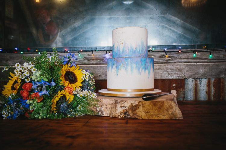 Bride Bridal Bouquet Wildflower Sunflower Multicolour Cake Wood Slice Watercolour Small Colourful Cool Alternative Wedding https://www.alexapoppeweddingphotography.com/