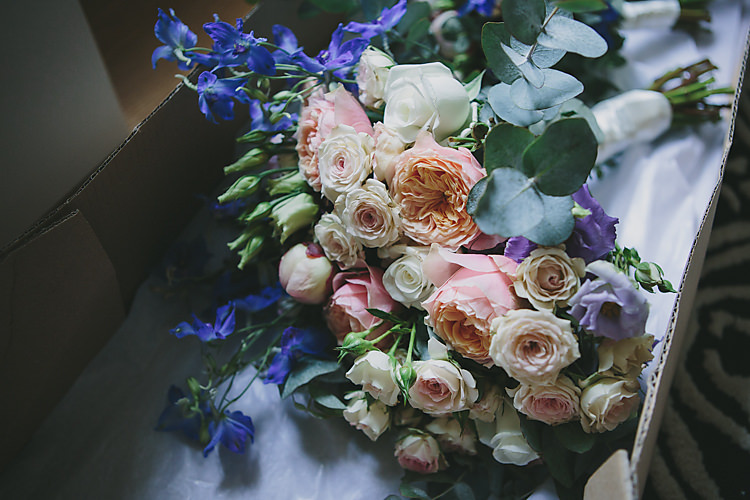 Bouquet Pink Blue Rose Peony Eucalyptus Pretty Country Gin Wedding http://www.victoriasomersethowphotography.co.uk/