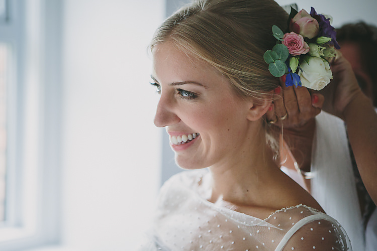 Hair Flowers Floral Up Do Style Pretty Country Gin Wedding http://www.victoriasomersethowphotography.co.uk/