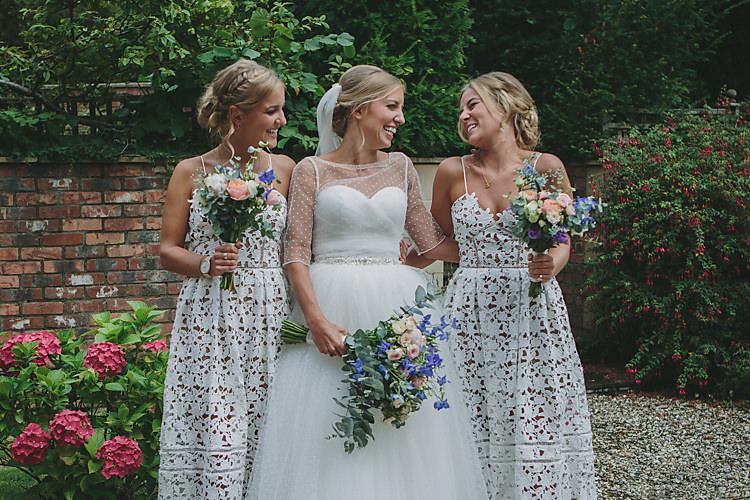 Bride Bridal Pronovias Gown Dress Sweetheart Princess Jacket Bouquet Wild Meadow Self-Portrait Bridesmaids Pretty Country Gin Wedding http://www.victoriasomersethowphotography.co.uk/