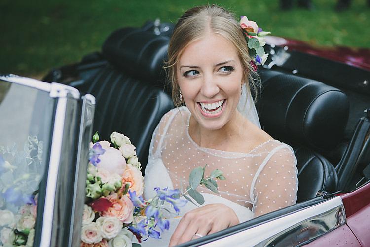 Bride Bridal Sweetheart Neckline Polka Dot Jacket Vintage Car Bouquet Peony Rose Eucalyptus Pretty Country Gin Wedding http://www.victoriasomersethowphotography.co.uk/