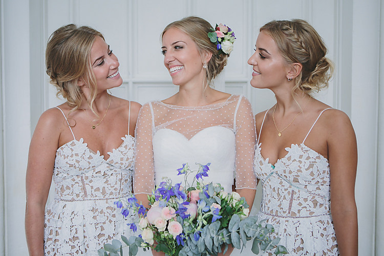 Confetti Bride Bridal Pronovias Gown Dress Sweetheart Neckline Princess Polka Dot Jacket Veil Self-Portrait Bridesmaids Pretty Country Gin Wedding http://www.victoriasomersethowphotography.co.uk/