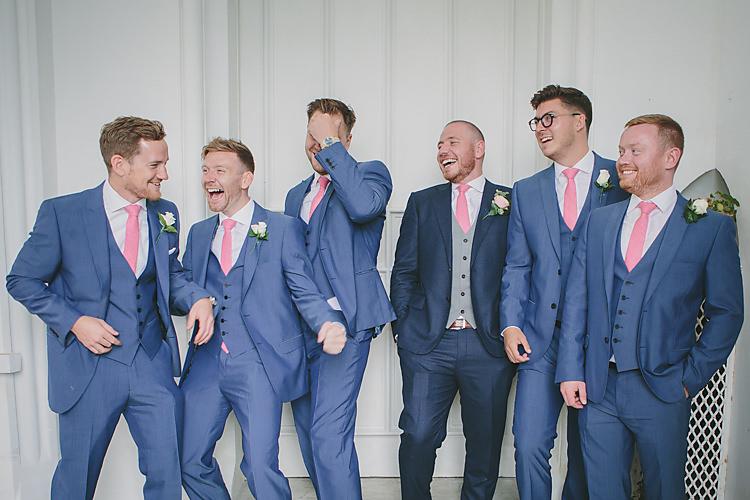 Groom Groomsmen Suitsupply RAF Navy Blue Three Piece Waistcoat Pink Tie Pretty Country Gin Wedding http://www.victoriasomersethowphotography.co.uk/