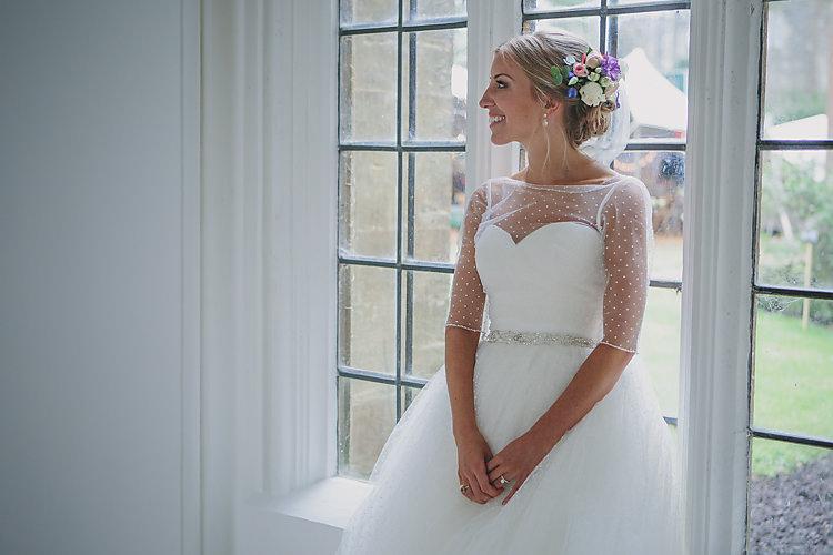 Bride Bridal Pronovias Gown Dress Sweetheart Neckline Princess Polka Dot Jacket Hair Up Do Flowers Diamante Belt Pretty Country Gin Wedding http://www.victoriasomersethowphotography.co.uk/
