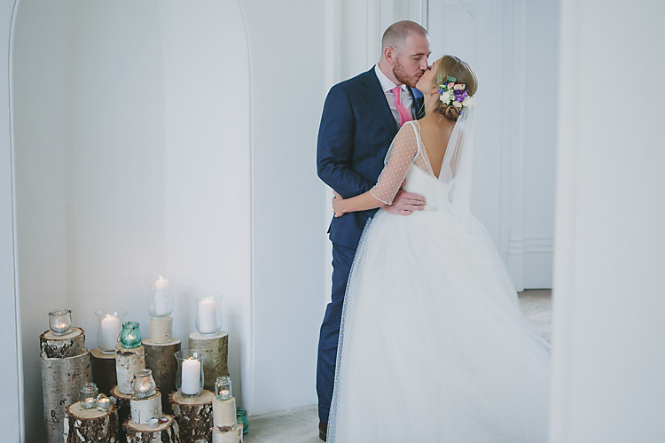 Confetti Bride Bridal Pronovias Gown Dress Sweetheart Neckline Princess Polka Dot Jacket Veil Suitsupply Groom Three Piece Waistcoat Navy Suit Grey Pink Tie Log Slice Wood Candle Pretty Country Gin Wedding http://www.victoriasomersethowphotography.co.uk/