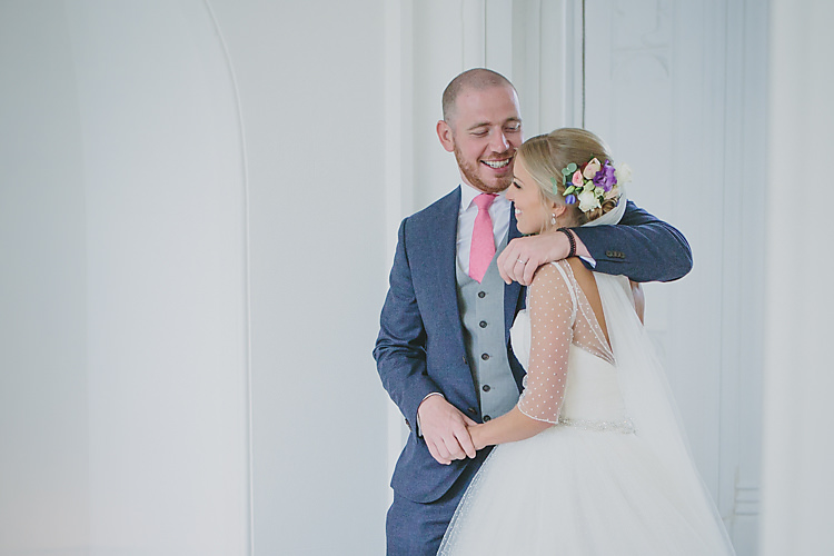 Confetti Bride Bridal Pronovias Gown Dress Sweetheart Neckline Princess Polka Dot Jacket Veil Suitsupply Groom Three Piece Waistcoat Navy Suit Grey Pink Tie Pretty Country Gin Wedding http://www.victoriasomersethowphotography.co.uk/