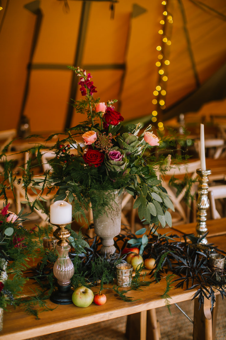 Tablescape Table Rustic Fruit Flowers Props Lighting Urn Tall Red Edgy Seasonal Autumnal Tipi Wedding Ideas http://www.sambennettphotography.co.uk/