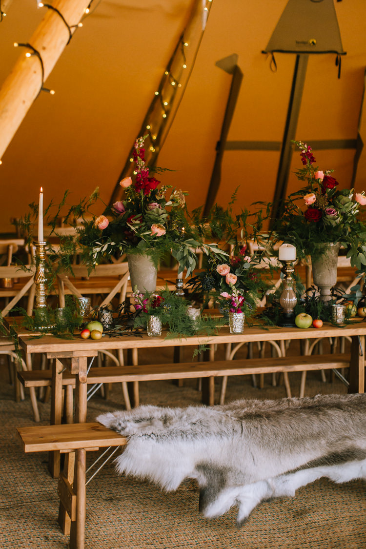 Tablescape Table Rustic Sheepskin Flowers Props Lighting Edgy Seasonal Autumnal Tipi Wedding Ideas http://www.sambennettphotography.co.uk/