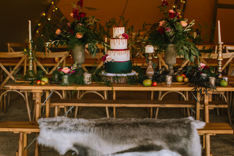 Drip Cake Tablescape Table Rustic Fruit Flowers Props Lighting Edgy Seasonal Autumnal Tipi Wedding Ideas http://www.sambennettphotography.co.uk/