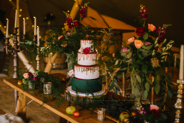 Drip Cake Red Green Tablescape Table Rustic Fruit Flowers Props Lighting Edgy Seasonal Autumnal Tipi Wedding Ideas http://www.sambennettphotography.co.uk/