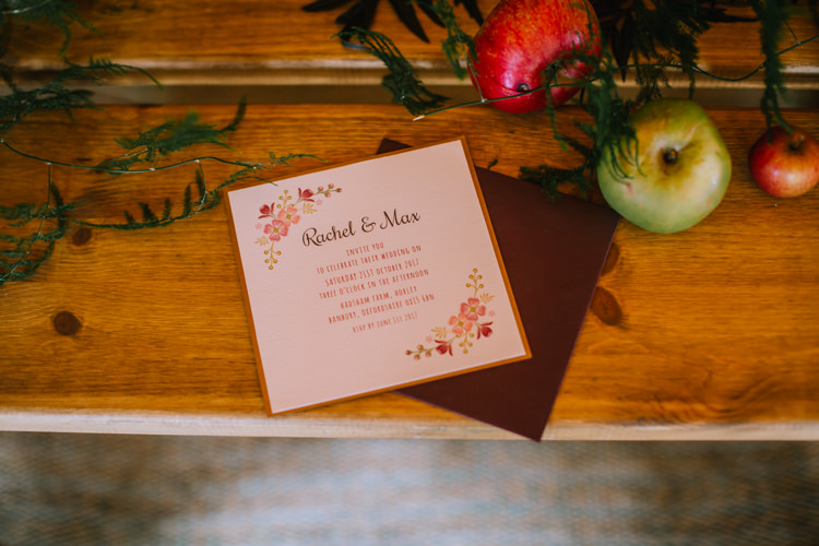 Floral Stationery Invitations Edgy Seasonal Autumnal Tipi Wedding Ideas http://www.sambennettphotography.co.uk/