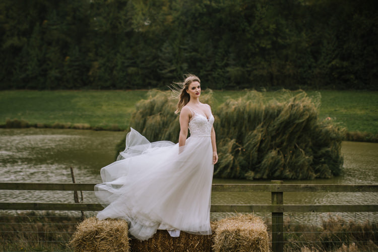 Tulle Dress Lace Straps Bride Bridal Train Edgy Seasonal Autumnal Tipi Wedding Ideas http://www.sambennettphotography.co.uk/