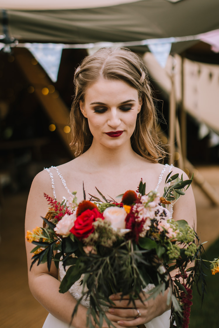 Bouquet Flowers Bride Bridal Red Rose Astilbe Greenery Foliage Edgy Seasonal Autumnal Tipi Wedding Ideas http://www.sambennettphotography.co.uk/